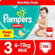 Pampers Pants Size 3 Midi (6-11kg) Mega Box 136 Nappies