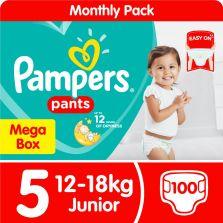 Pampers Pants Size 5 Junior (12-18kg) Mega Box 100 Nappies